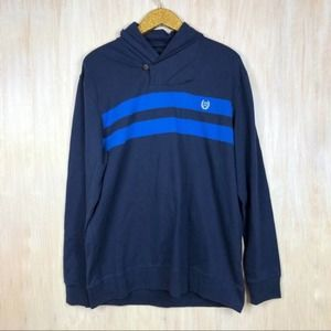 NWT Chaps Blue Cotton Hoodie Pullover Sweater